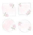 watercolor pink tiny flower wreath frame on pink vector image vector image