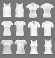 white blank 3d t-shirt templates for man vector image vector image