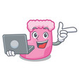 with laptop sock character cartoon style vector image