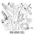 hand drawn construction tools vector image