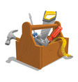 wooden toolbox with tools vector image