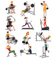 exercise equipment with people set vector image
