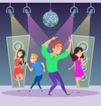 funny people dancing on dance floor disco party vector image