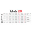 2019 calendar design horizontal dimension template vector image