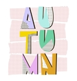 Autumn Word Fall geometric lettering in memphic vector image