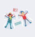 best friends girls make snow angels vector image vector image