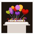 big stand with colorful balloons and sweet vector image vector image