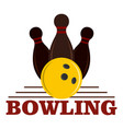 bowling game logo flat style vector image vector image
