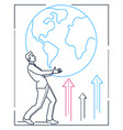 businessman holding a globe - line design style vector image