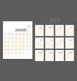 calendar planner 2019 vector image