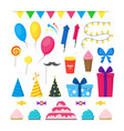 cartoon party holiday color icons set vector image vector image