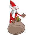 cartoon santa claus christmas character with sack vector image vector image