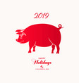 chinese zodiac sign year of pig red paper cut pig vector image vector image
