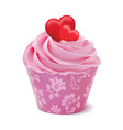 cupcake or muffin decorated with hearts isolated vector image vector image