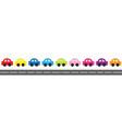 cute cartoon car set with dash line vector image