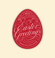 easter greetings egg lettering vector image vector image