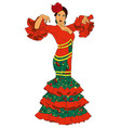 fashion woman in dress for flamenco vector image