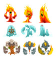 fire stone and water monsters set fantasy mystic vector image