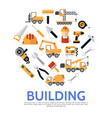 flat building industry round concept vector image vector image
