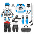 flat style set of hockey player vector image vector image