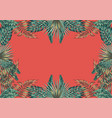 floral botanical border coral background vector image