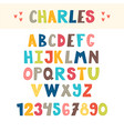 funny colorful hand drawn english alphabet cute vector image vector image