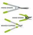 garden hand tools set branch clippers hand vector image vector image
