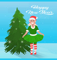 girl elf costume near fir tree happy new year vector image