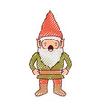 gnome with costume in colored crayon silhouette vector image vector image