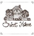 hand drawing house with text home sweet home vector image vector image