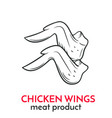 hand drawn chicken wings icon vector image