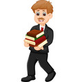 handsome man cartoon walking with bring books vector image