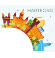 hartford connecticut usa skyline with color vector image vector image
