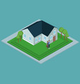 isometric house with people vector image vector image
