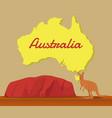 kangaroo with australia map for traveling vector image