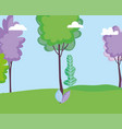 landscape meadow leaves nature trees sky vector image