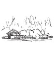 landscape with trees and house hand drawn sketch vector image vector image