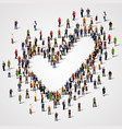 large group of people in the shape of a check mark vector image vector image