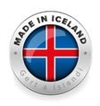made in iceland button steel vector image vector image