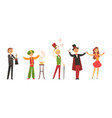magicians performing tricks set circus characters vector image
