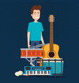 man playing drum and instruments vector image