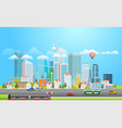 modern metropolis with cars city panarama vector image