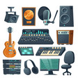 music studio equipment for sound recording vector image vector image