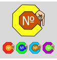 number icon Flat modern Set colourful web buttons vector image