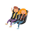 people sitting on roller coaster seats young vector image