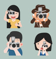 photographer taking photo in different poses vector image vector image