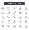 pirate line icons signs set outline vector image