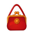 red womens handbag with clasp isolated on a white vector image vector image