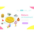 return on investment flat isometric vector image vector image