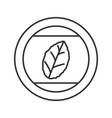 Round sticker with tobacco leaf linear icon